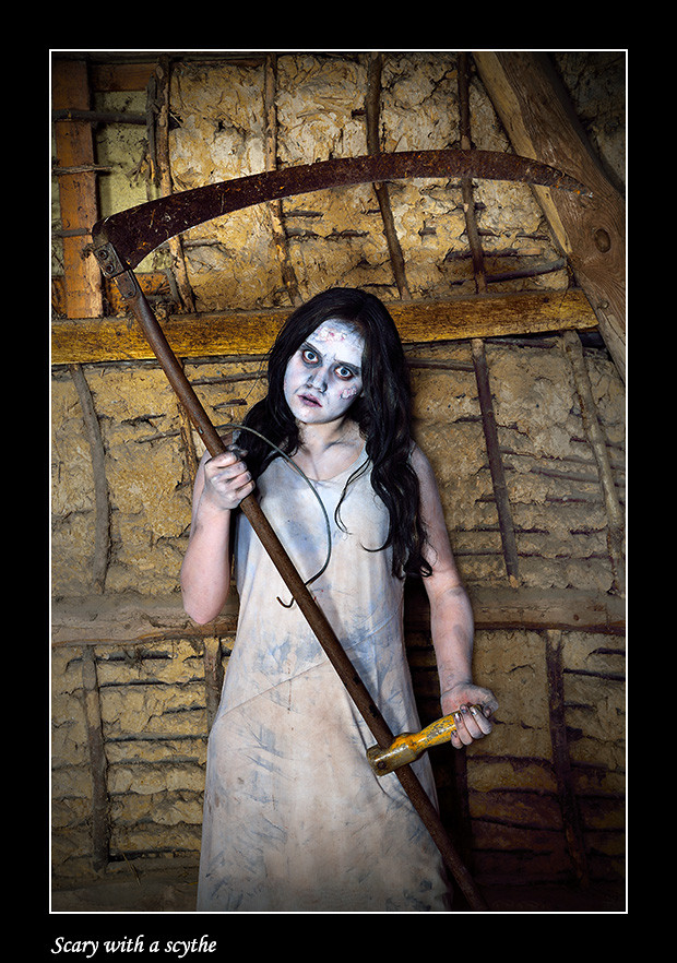 Foto Scary with a scythe door Qpic