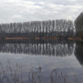 Foto de zandputten in nevelig landschap door ambergham